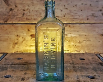 Antique Glass Haskin's Nervine Blob Top Bottle (1880's)