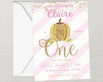 Pumpkin Birthday Invitation, Fall Birthday, First Birthday, Birthday Invitation Printable, Pumpkin Party, Pink Gold Glitter, Any Age, Photo