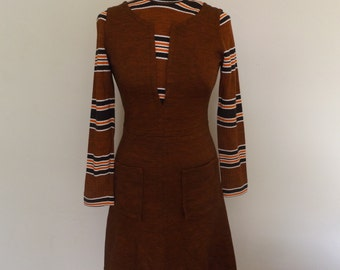 vintage 60s mod laura lee orange shift dress 8 10 small