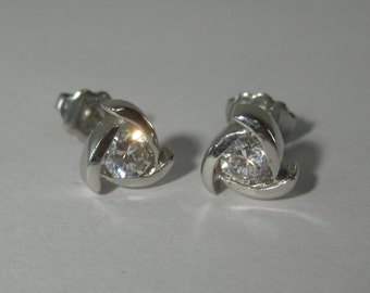 Sterling Silver White Gemstone Earrings