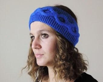 Blue Knit Headband, Chain Knit Headband, Ear Warmer, Winter Hairband, Blue Knitted Headband, Chunky Headband