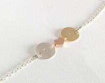 Initial bracelet, letter bracelet, disc bracelet, handstamped bracelet, personalized disc bracelet, silver bracelet, gold bracelet