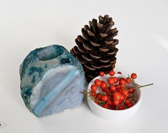 TC01 Teal agate candle holder. gemstone candle holder. blue agate home decor