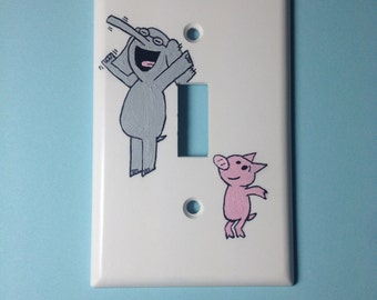 Elephant & Piggie Hand-painted Lightswitch cover
