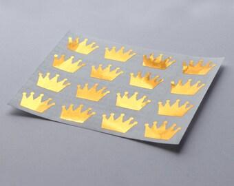 16 Metallic Gold Crown Stickers, Gold Crown Labels, Planner Stickers, Envelope Seal, Wedding Stickers, Birthday Stickers