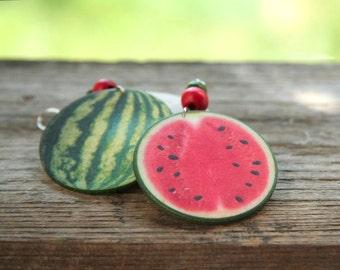 Decoupage watermelon earrings, green fruit earrings, red earrings, big bohemian earrings, boho style, green and redsummer earrings