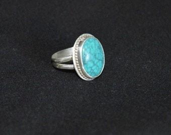 Green Chrysocolla & Fine Silver Ring, Size 6 1/4