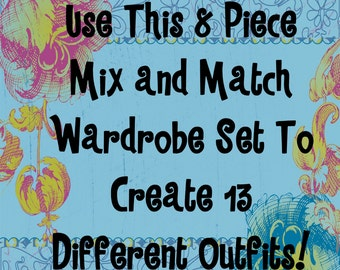 18 In Doll Clothes, 8 Piece,  Mix And Match Basic Wardrobe Set, Makes 13 Outfits!