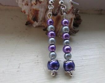 Purple earrings , Beaded earrings , Drop earrings , Silver plated earrings , Hooked earrings