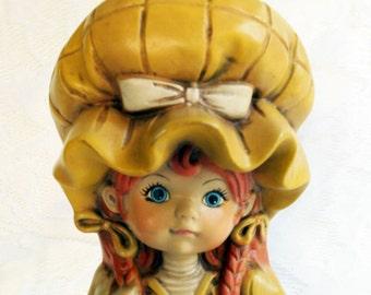 Vintage Holly Hobbie, Ceramic Peasant Girl, Strawberry Shortcake Like, 1970s, Oversized Bonnet, Matte Finish, Retro, Holding Basket