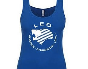 LEO What's Your Sign Zodiac TANK Royal Blue or Dark Gray Birthday Gift