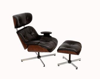 Black Leather Walnut Eames Style Reclining Chair & Ottoman - Mid Century Modern