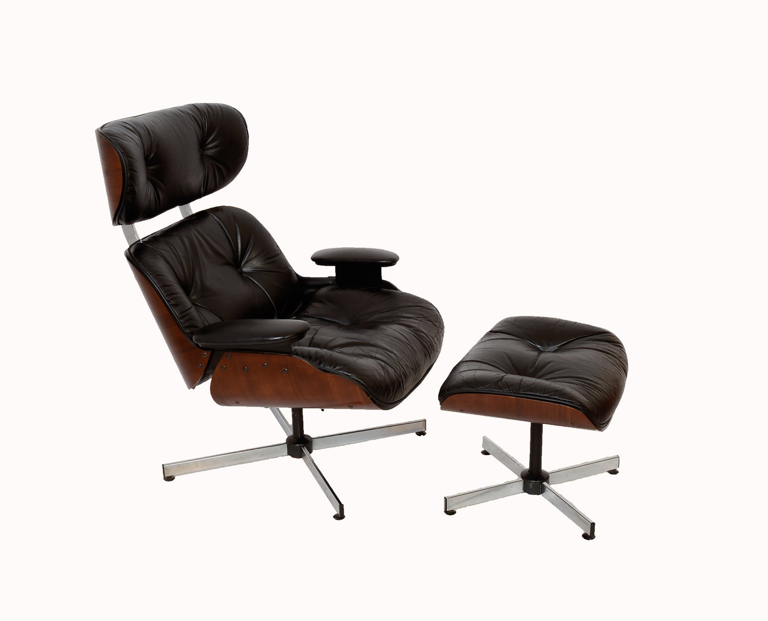 Black Leather Walnut Eames Style Reclining Chair Ottoman