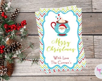 Christmas Gift Tags, Hot Chocolate Tags, Merry Christmas Gift Tags, Holiday Labels, Christmas, Favor Tags, Digital Printable