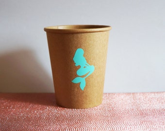 Mermaid Party Cups, Mermaid Birthday, 8oz Kraft Paper Cups, Beach Wedding, Nautical Tableware Party Cups, Baby Shower Cups, Brown Paper Cups