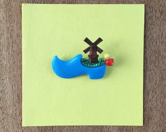 Blue Clog with Windmill and Tulips Brooch