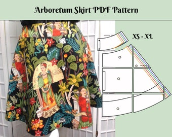 Women's Skirt Pattern PDF with Yoke Waist and side zipper, Semi Circle Skirt, Flared, Easy and Comfortable, sewing Sizes XS, S, M, L, XL
