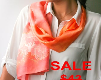 Peachy Silk Scarf Orange Scarf Handpainted Silk Gift for Women Batik Gift for Goworker Mothers Day Gift for Mom Summer Scarf Gift for Her