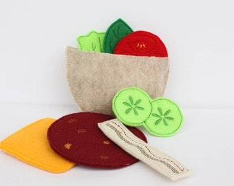 Felt Pita Sandwich Set - Play Food - Build a Pita Sandwich - Pretend Restaurant - Waldorf Inspired - Pretend Play