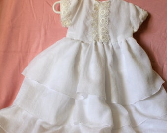 Handmade Simple Christening Gown with vintage lace