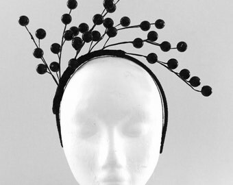CELESTINA: gloss black berry crown / fascinator -r aces, special event