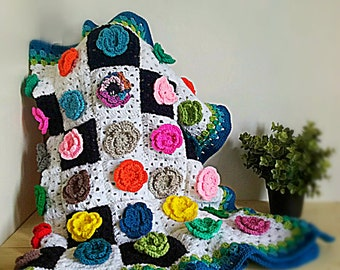 Flower crochet throw blanket Kandinsky Mondrian bedspread flower afghan granny square throw weighted pram blanket colourful READY TO SHIP