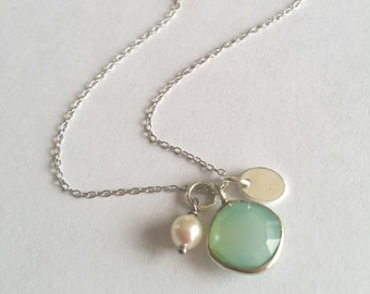 Little stone - chalcedony necklace, Pearl water soft and Silver 925