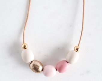 Polymer Clay Necklace - Blush Pink and Gold / leather cord / handmade / Gift / Birthday / Bridesmaid