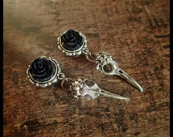 Real AND Fake plugs tunnel plugs earring rose skull gothic vintage ravenskull victorian steampunk lobes pendant