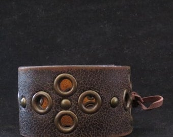 Brown Recycled Leather Bracelet Cuff Wristband With Metal Eyelets And Rivets Gift For Her Gift For Him