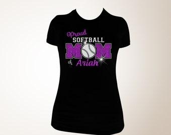 Softball Mom T-shirt, Softball Mom Bling Shirts, Bling Softball Mom Shirts, Softball Mom Shirt, Proud Softball Mom Shirt, Softball Mom