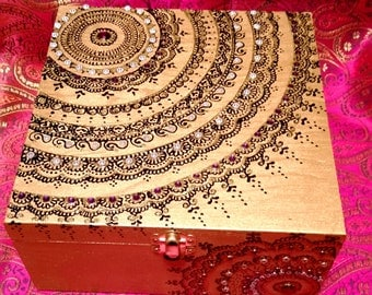 Henna/Mendhi inspired Gold Mandala Keepsake Jewelry Box with Jewel Toned Gem Stones!