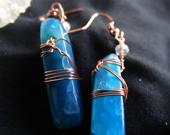 Blue Crystal and Copper Earrings