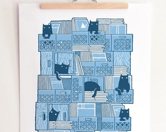 Cats and Record Crates - Handmade Silkscreened Art Print