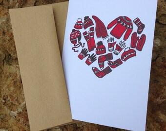 Warm Heart Hand Printed Greeting Card