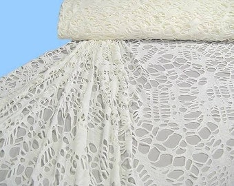 Fancy knit white with lace pattern