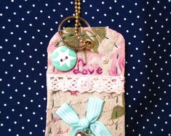 Cotton fabric, handmade, keychain