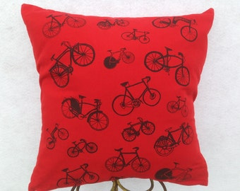 Red Silk-screen Bicycle 2 Sided Pillow. Original Hand Drawn Hand Silk-screened Bike Images Silk-screened on Up-cycled Red Cotton