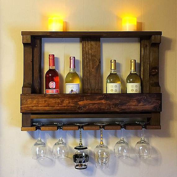 Wooden Wine Rack Hanging Wine Glass Rack Rustic Wine
