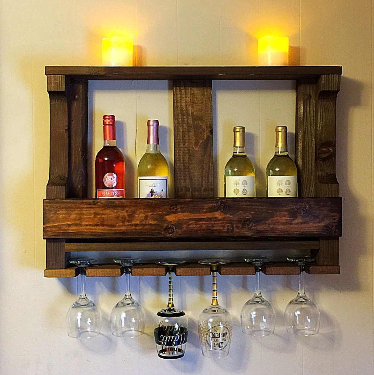 Wonderful image of Wooden wine rack Hanging wine glass rack Rustic by MartelMosaic with #C5A606 color and 1214x1216 pixels