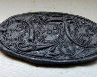 Rustic Shimmering Slate Gray Celtic Mandala Oval Pendant