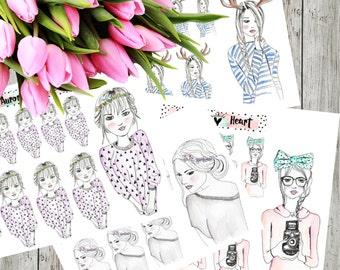 Boho girls illustration planner stickers boho