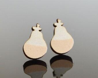 Cream Pear Earrings Wooden Earrings Laser Cut Jewellery Unique Earrings Pearl Pear Lasercut Jewelry Wood Stud Earrings