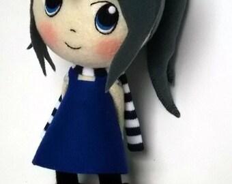 Autumn Girl Paula - Felt  Chibi Handmade Doll
