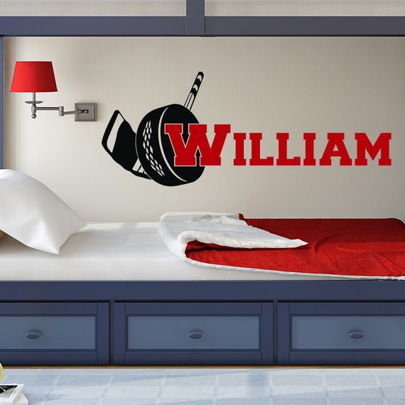 Hockey Wall Decal Large Decal Custom Name Decal Boys: Hockey Wall Decal Custom Hockey Wall Decal With Personalized