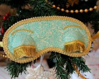 Handmade Holly Golightly style sleep mask with eyebrows and eyelashes. Breakfast at Tiffany's (Audrey Hepburn) beautiful blindfold, eye mask