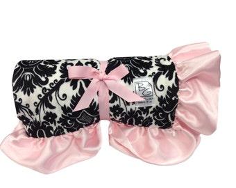 Fleur Stroller Blanket Black/Pink