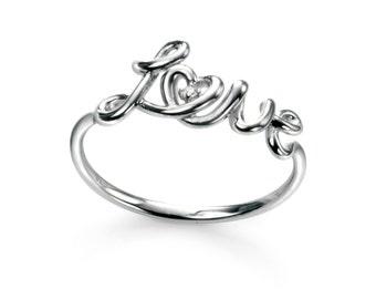 Rhodium Plated Rhodium Plated Love Ring