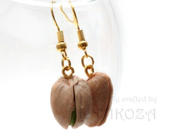 Pistachio earrings made of polymer clay (realistic juicy fruits crafted into a beautiful piece of jewelry)