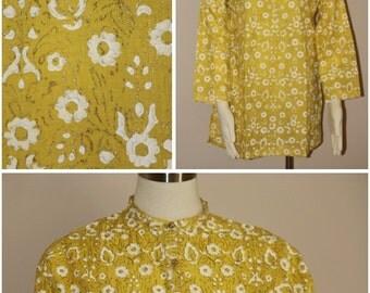 Yellow, Block Printed Cotton Shirt/kurti Medium size
